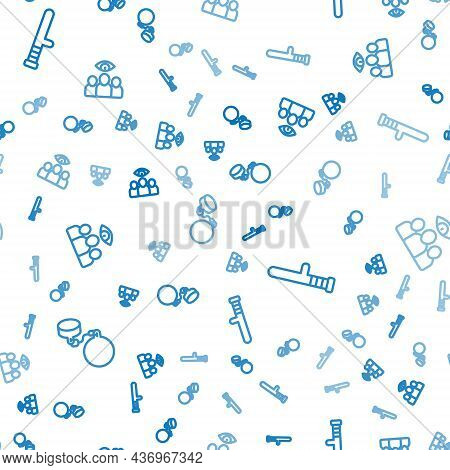 Set Line Ball On Chain, Police Rubber Baton And Spy, Agent On Seamless Pattern. Vector
