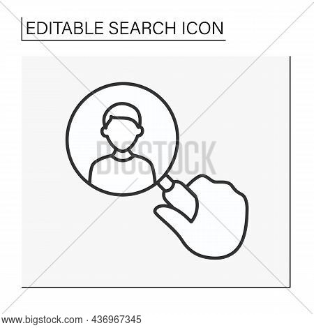 Seo Line Icon. Looking Through A Magnifier. Searching For Man. Looking For Lost Friends. Search Conc