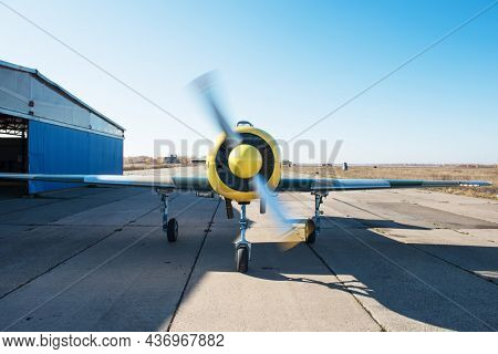 Ultralight small private aircraft airplane at the aerodrome airport