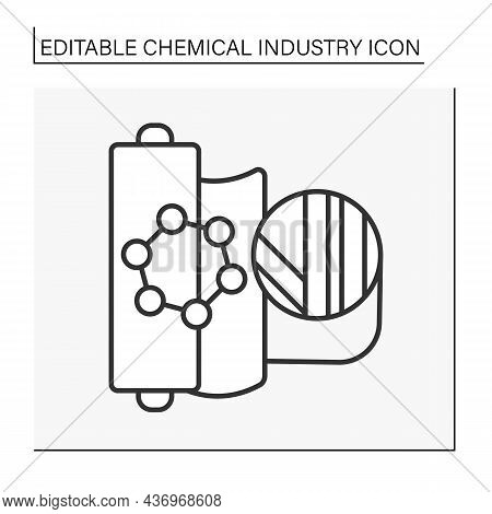 Industrialization Line Icon. Synthetic Fabric Production. Clothing. Chemical Industry Concept. Isola