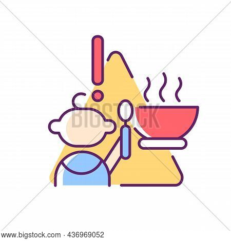 Child And Hot Food Rgb Color Icon. Baby Safety At Home. While Eating Supervision Required. Burn And