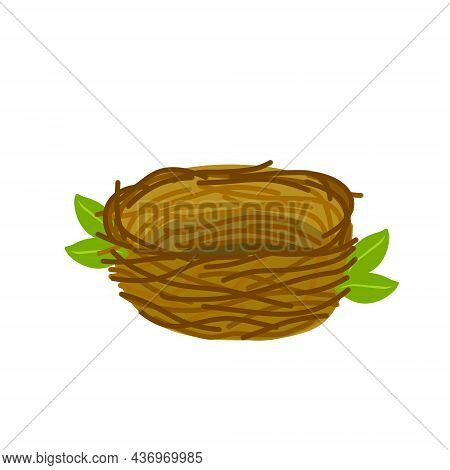 Bird Nest. Element Of Forest. Cartoon Flat Illustration. Animal Shelter Of Brown Sticks And Branches