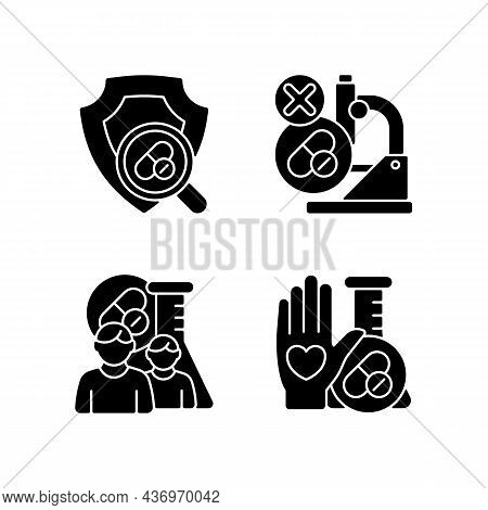 Clinical Research Facility Black Glyph Icons Set On White Space. Failed Project. Mams Approach. Huma