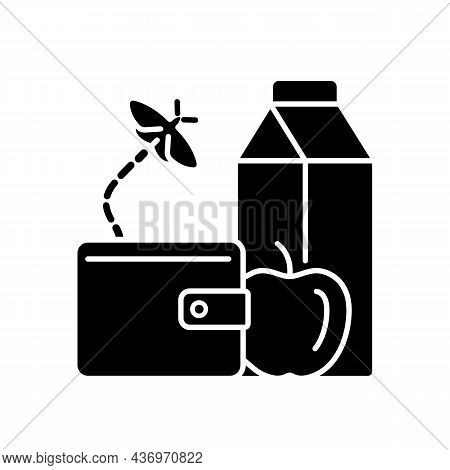 No Money For Food Black Glyph Icon. Poverty And Hunger. Financial Problems Lead To Malnutrition. Lac