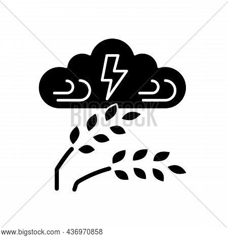 Adverse Weather Black Glyph Icon. Severe Climate Conditions Lead To Harvest Damage And Hunger. Weath