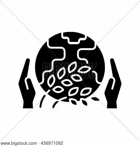 Hunger Relief Organization Black Glyph Icon. Global And Regional Initiatives That Help Poor And Hung