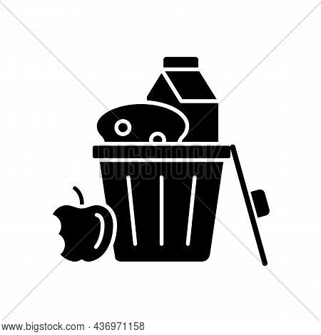 Food Misuse Black Glyph Icon. Excessive Nutrition And Addictive Overeating. Poverty And Hunger Issue
