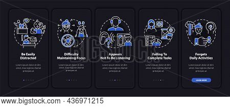 Inattentiveness Symptoms Onboarding Mobile App Page Screen. Concentration Loss Walkthrough 5 Steps G