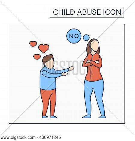 Limiting Physical Contact Color Icon. Avoid Child Love. Refusal To Show Love. No Hugs, Kisses. Ignor