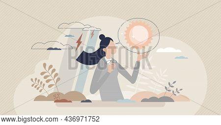 Positive Thinking Skill And Happy Mindset Or Brain Attitude Tiny Person Concept. Joyful Emotions Abo