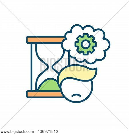 Struggling To Meet Deadlines Rgb Color Icon. Time Management Challenges. Procrastination Habit. Bein