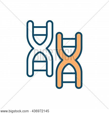 Genes And Heritability Rgb Color Icon. Genetics Role In Neurological Disorders. Random Gene Mutation
