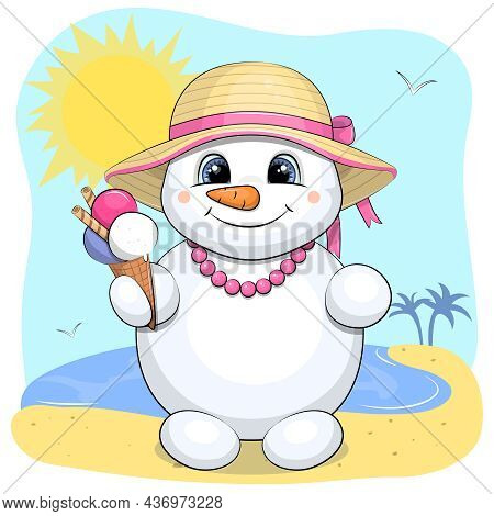 Cute Cartoon Snowman With Ice Cream, Hat And Necklace. Summer Vector Illustration With Beach, Sun, S