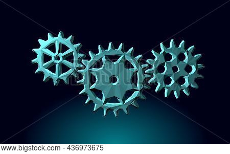 3d Gears Work Progress Concept. Wheel Industry Mechanism Engineering Teamwork. Data Analysis Busines