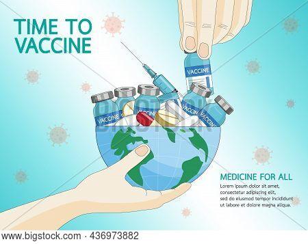 Coronavirus Vaccine Disease Covid-19. Syringe And Vaccine Vial Injection Tool For Covid19 Immunizati