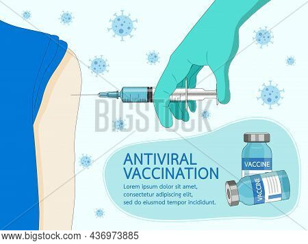 Coronavirus Vaccine Disease Covid-19. Hands In Blue Gloves Of Doctor Holding Syringe And Vaccine Via