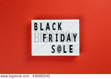 Creative Top View Flat Lay Promotion Composition Black Friday Sale Text Lightbox Red And Black Backg