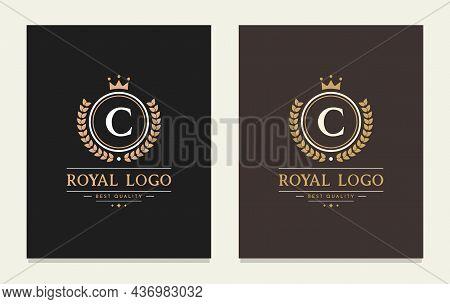 Graceful Letter C Luxury Royal Style Crown Logo. Elegant Emblem And Round Shape. The Vintage Symbol