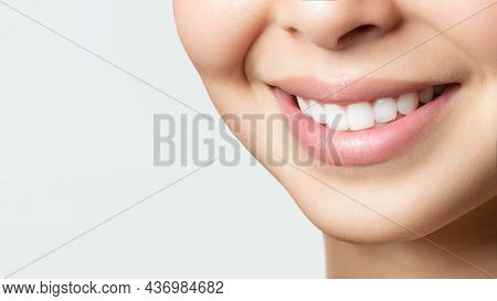 Perfect Healthy Teeth Smile Of A Young Asian Woman. Teeth Whitening. Dental Clinic Patient. Image Sy