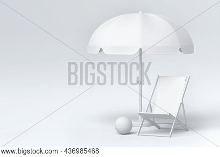 Beach Chair With Umbrella And Beach Ball On Monochrome Background.