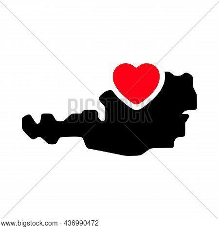 I Love Austria, Austria Map And Heart Symbol Glyph Icon.