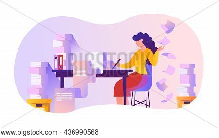 Woman Busy With Work. Employee Sits At Table With Stack Of Papers. Clerk, Manager, Accountant. Large