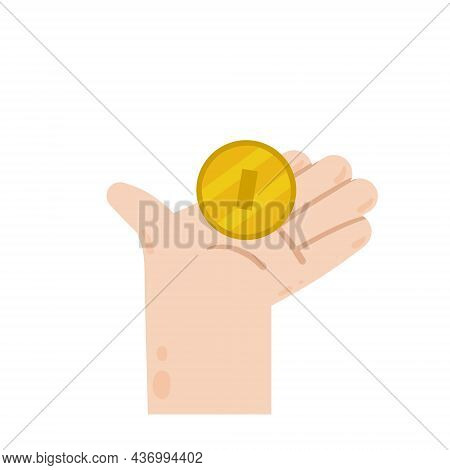 Hand Hold Coin. Saving Money. Payment For Products And Sponsorship. Modern Trendy Flat Cartoon Illus