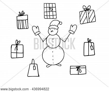 A Snowman With Gifts Drawn With A Black Outline. Christmas Set Of Stickers, Icons. Vector Illustrati