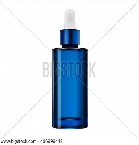 Blue Glass Dropper Bottle, Essential Oil Vial, Vector. Clear Serum Essence Flask Mock Up. Cobalt Col