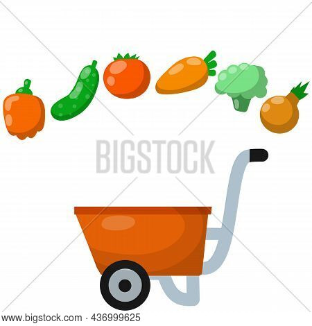Red Farmers Cart With Vegetables. Pepper And Onion With Broccoli, Tomato, Carrot, Cucumber. Fresh Fo