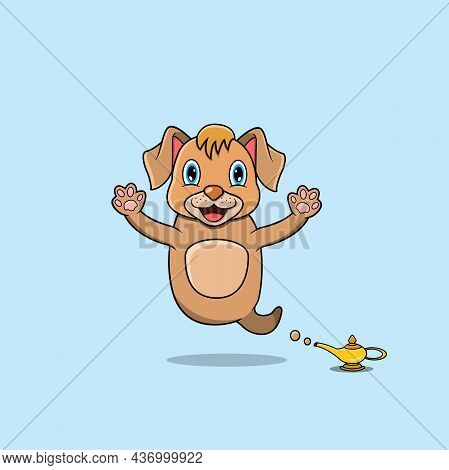 Cute And Funny Animals With Dog. Genie Character. Perfect For Mascot, Logo, Icon, And Character Desi