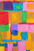 Colorful acrylic painting color brush strokes on canvas poster