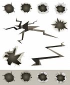 Illustration of a set of bullet holes slashes earthquake cracks and various gunshot impact hollows poster