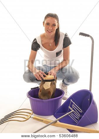 Beautiful Girl With Horses Cleaning Equipment