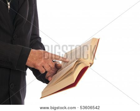 businessman with a book in his hand