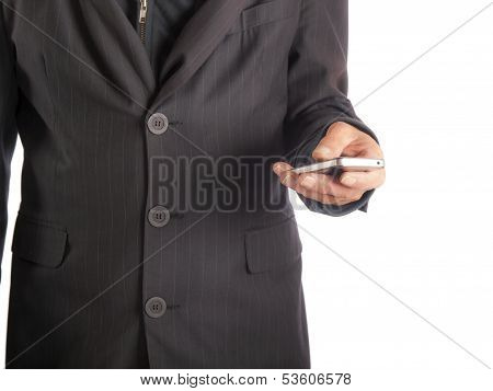 businessman with smart phone in his hand