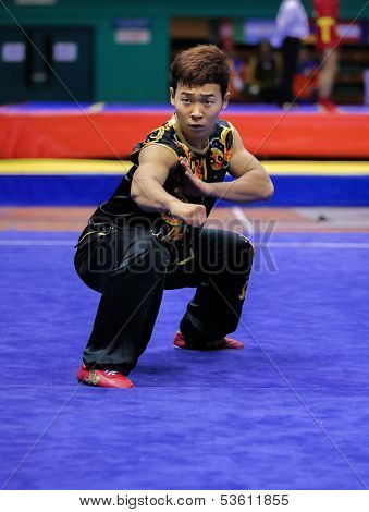 KUALA LUMPUR - NOV 03: Lee Yongmun of South Korea shows his fighting style in the 'nan quan compulsory' event at the 12th World Wushu Championship on November 03, 2013 in Kuala Lumpur, Malaysia.