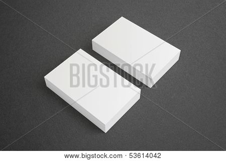Blank Business Cards On Dark Background
