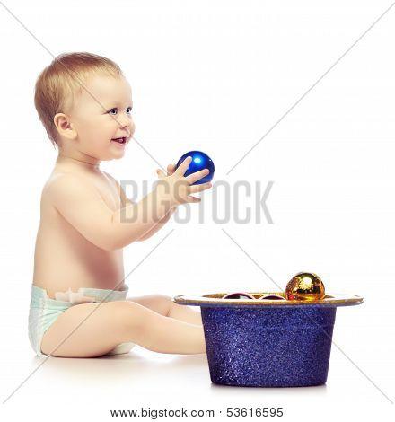 Baby With Chrismas Balls