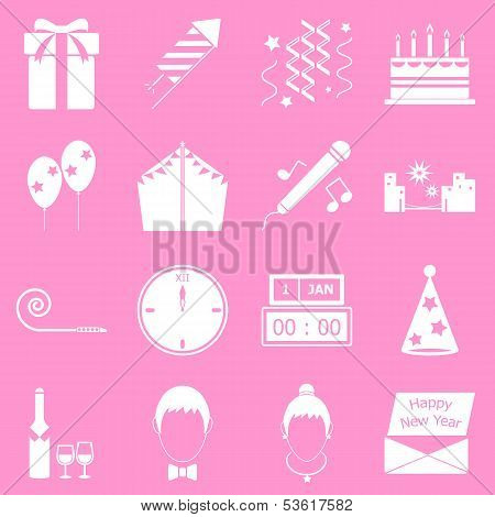 New Year Icons On Pink Background