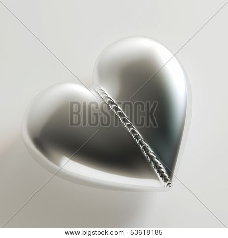 Weld Metal Heart On White Background (Idea For Greeting Card)
