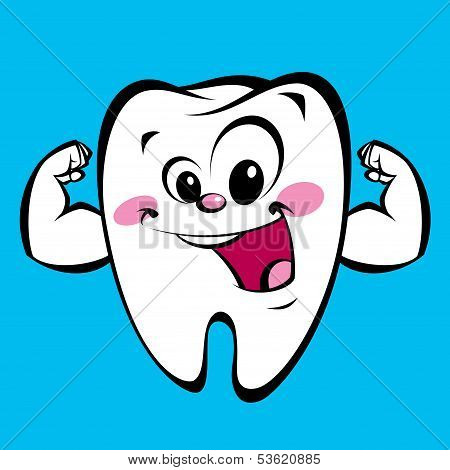 Happy Cute Cartoon Strong Tooth Character Making A Power Gesture