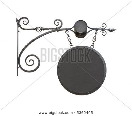 Hanging Wrought-iron Notice Sign Cutout