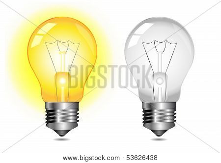Glowing light bulb icon - on / off