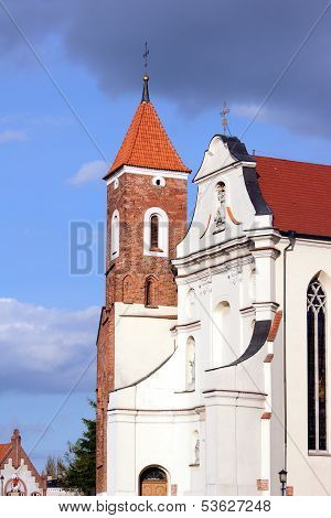 The baroque church with a Gothic tower