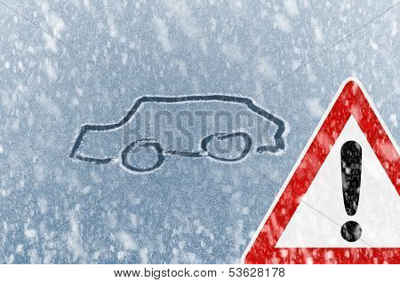 Winter driving - sketched car on a windshield