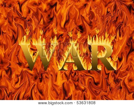 Word war engulfed in flames on infernal background - concept of destruction and hardship of war