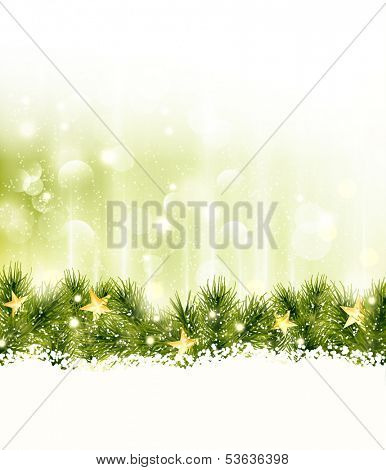 Golden stars in a border of fir twigs on a soft golden green background with blurry lights, light effects and snow. Festive and wintry, great background for any Christmas or winter theme.