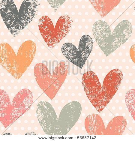Bright romantic seamless pattern made of colorful hearts in vector. Seamless pattern can be used for wallpapers, pattern fills, web page backgrounds, surface textures.