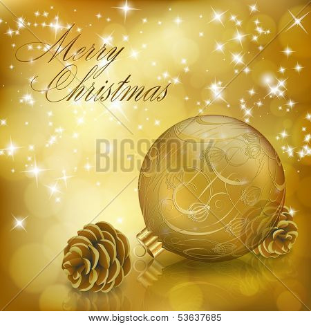 Golden Xmas greeting card with gold Christmas ball and cones. Vector eps10 illustration poster